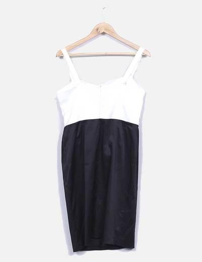Vestido midi bicolor detalle lazo