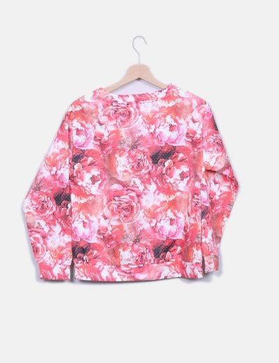 Sudadera floral rosa combinada