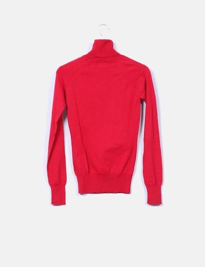 Jersey rojo cuello vuelto