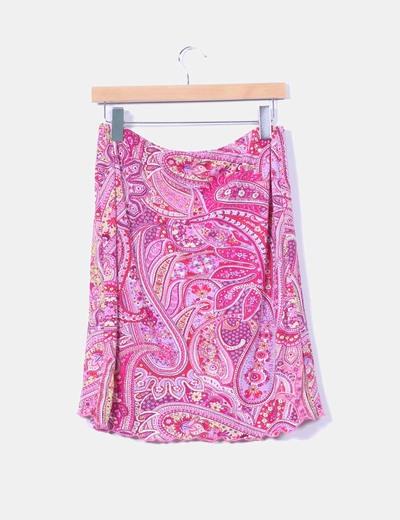 Falda rosa estampado cachemira