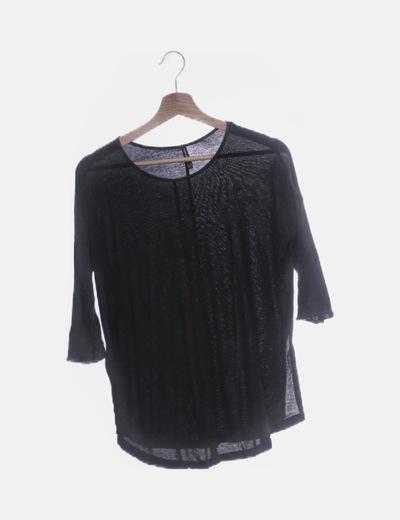 Camiseta negra manga francesa