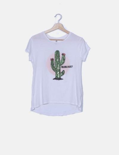 Camiseta manga corta blanca print cactus paillettes