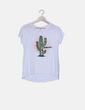 Camiseta manga corta blanca print cactus paillettes Stradivarius