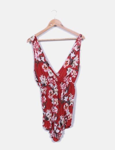 Combinaison rouge florale Pull&Bear