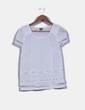 Blusa blanca bordada de manga corta Adolfo Dominguez