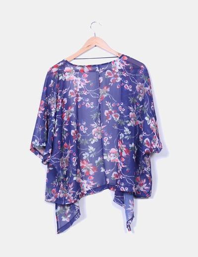 Kimono morado semitransparente floral