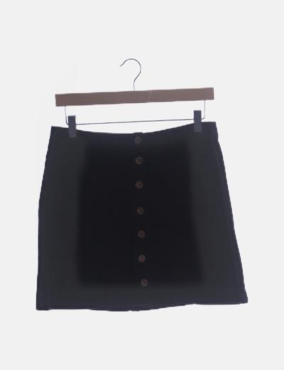 Falda denim negra abotonada