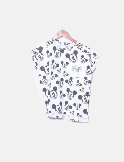 Camiseta blanca print Mickey Mousse Zara