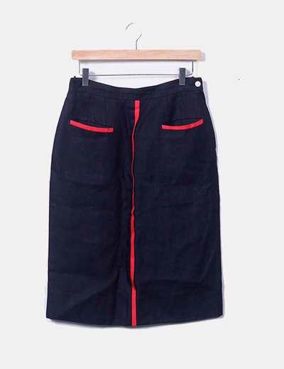 4124e99c61 Valentino Falda lino azul marino rayas rojas (descuento 82%) - Micolet