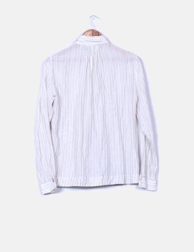 Camisa de rayas tono crudo hilo plateado
