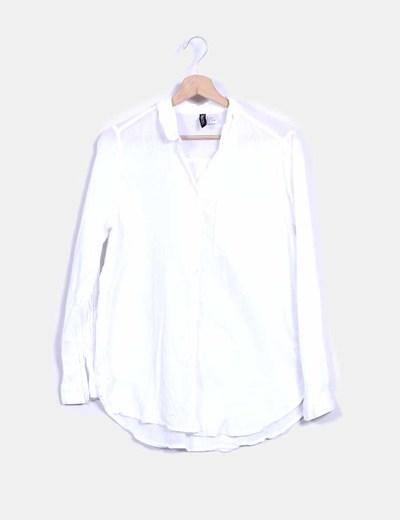 Camisa lino blanco manga larga H&M