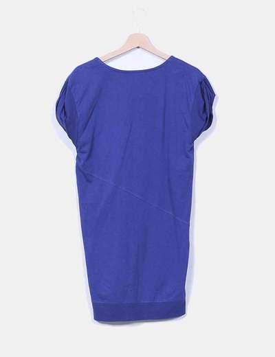 Vestido azul marino cuello redondo
