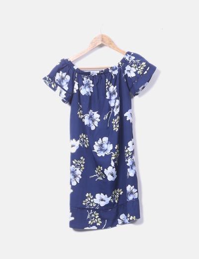 Vestido azul marino estampado flores