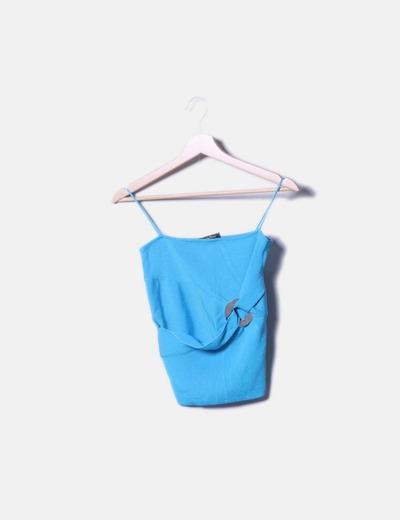 Top tricot azul de tirantes