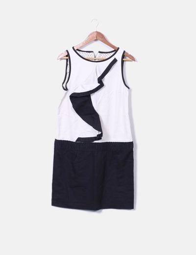 Vestido combinado blanco y negro