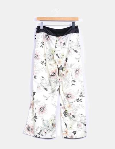 Pantalón culotte satinado print floral NoName