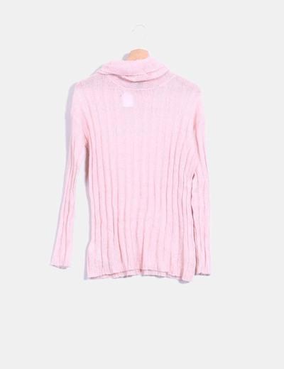 Jersey tricot rosa cuello vuelto