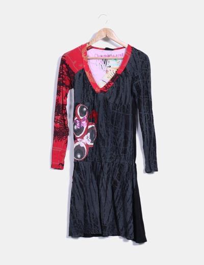 Vestido combinado negro Desigual