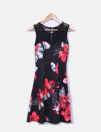 Vestido floral escote semitransparente Suiteblanco