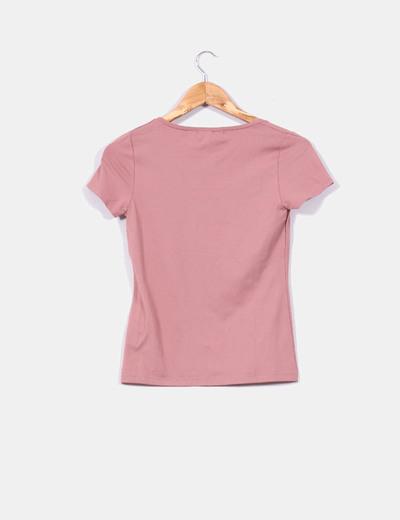 Camiseta rosa de manga corta con pedreria