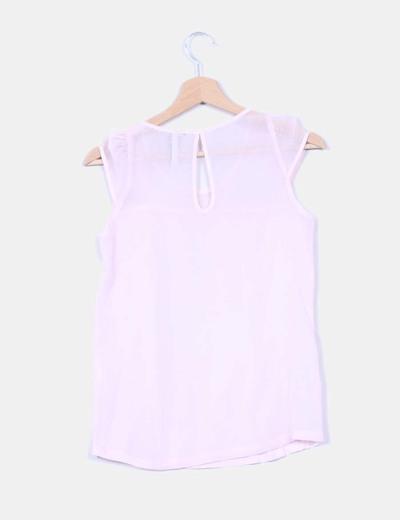 Blusa de gasa rosa con la arte de la espalda en gasa transparente y tejido de topos