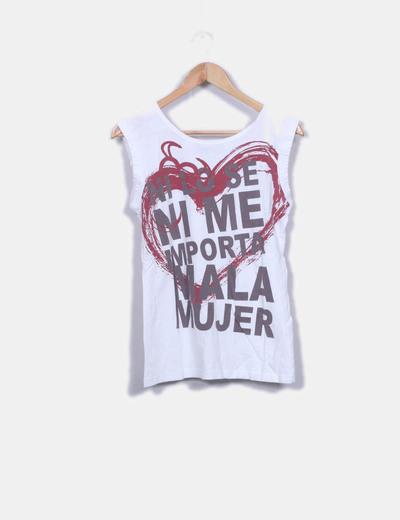 Camisa de coração estampada sem mangas Mala Mujer