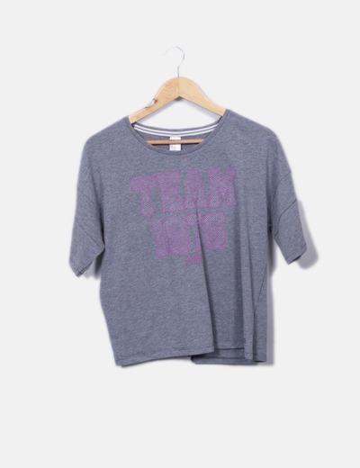 T-shirt gris imprimé Oxylane