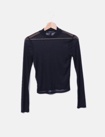 Camiseta negra de malla semitransparente Forever 21