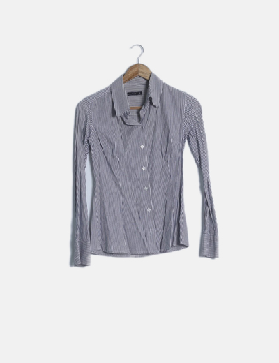 Camisa negra rayas manga larga