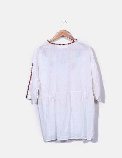 Vestido plumetti blanco etnico