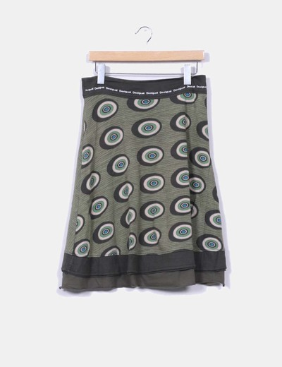 Skirt printed in green tones Desigual