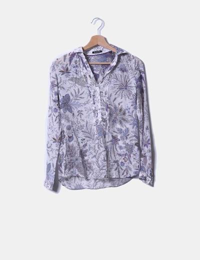 Blusa de seda floral manga larga Massimo Dutti