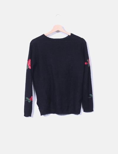 Jersey negro punto print floral