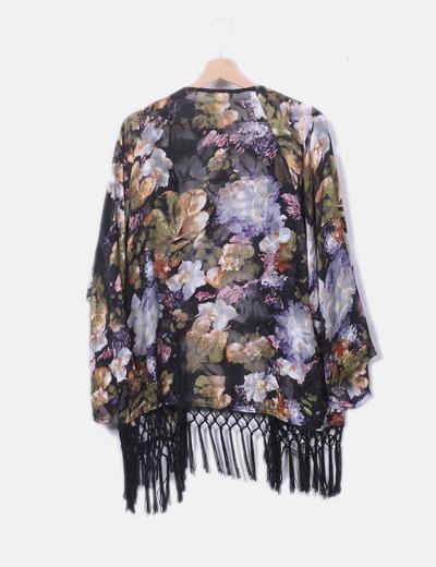 clásico orden estilo atractivo Kimono floreado flecos