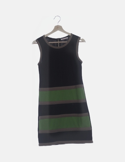 Vestido fluido negro franjas verdes