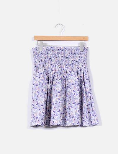Falda morada con estampado floral H&M