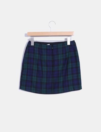 Mini falda navy cuadros verdes