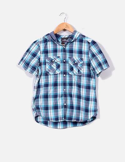 Camisa de cuadros en tonos azules con capucha H&M