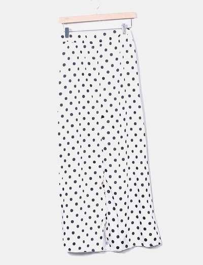 Maxi falda beige con lunares