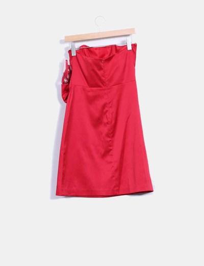 Vestido rojo satinado detalle lazo