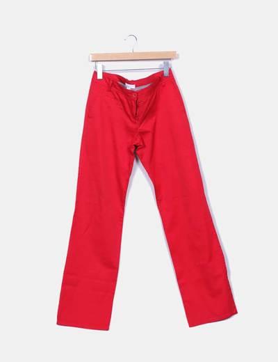 Pantalón denim rojo recto