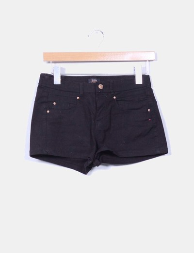 Short denim negro Bershka