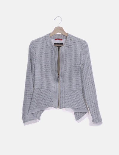 Chaqueta tricot azul y blanca