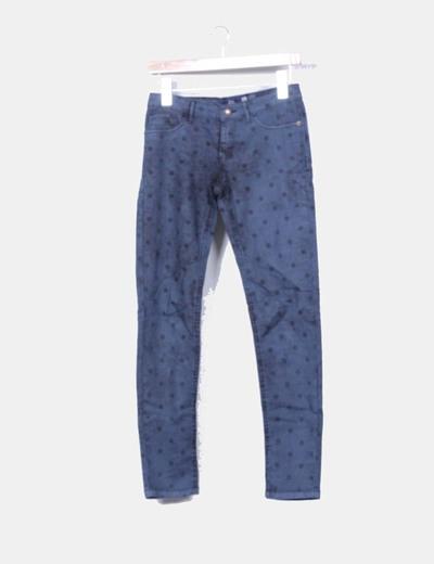 Pantalón denim azul petróleo con topos Bershka