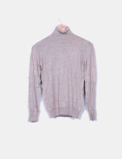 Suéter tricot marrón cuelo vuelto Easy Wear
