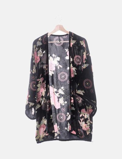 Kimono negro velvet print floral