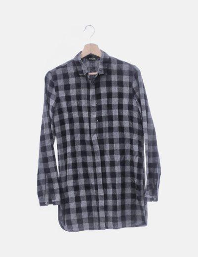Camisa gris cuadros azul marino