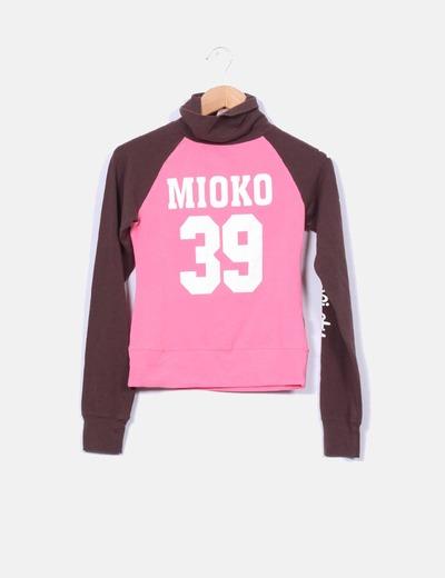 Top bicolor con cuello vuelto Mioko