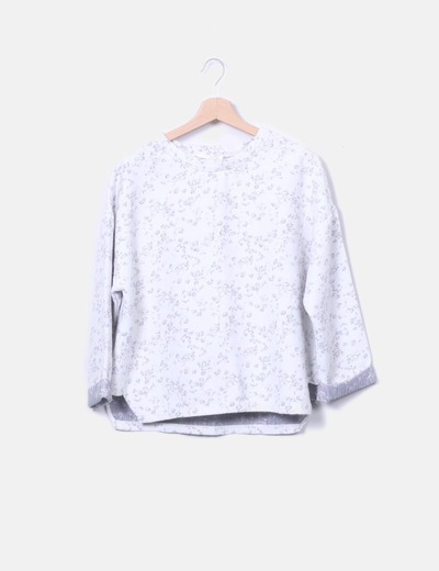 Floral embroidered gray sweatshirt Zara