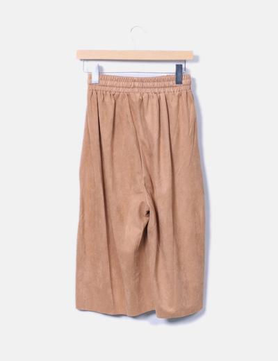 Pantalon culotte antelina camel